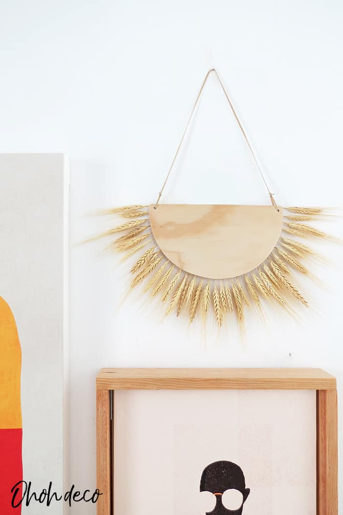 DIY dried wheat wall decor