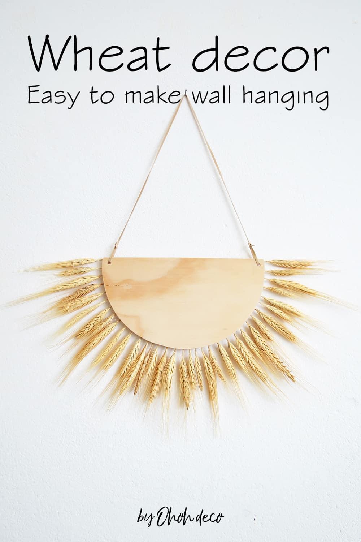 DIY wheat decor wall hanging