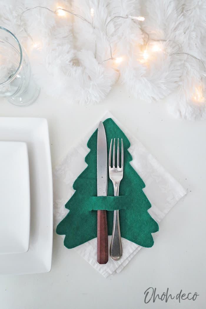 DIY Christmas cutlery holders