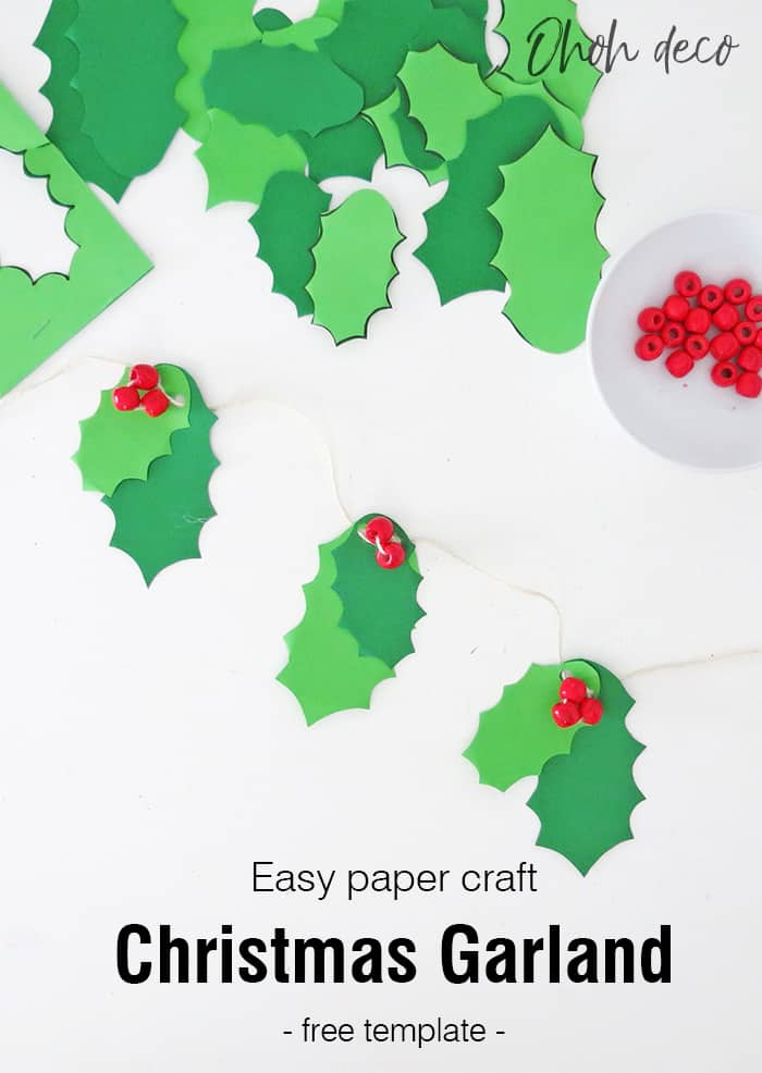 Easy DIY holly Christmas garland