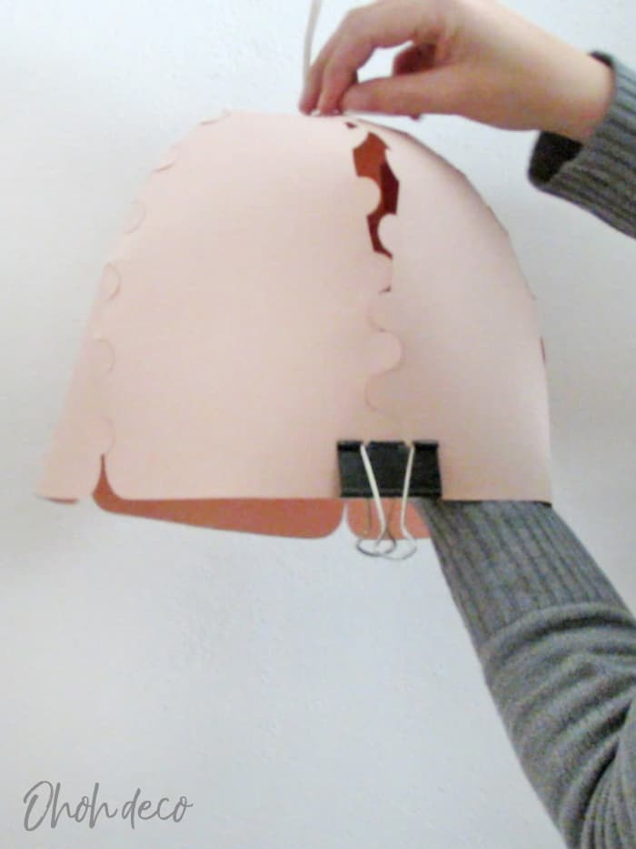 glue the paper lampshade