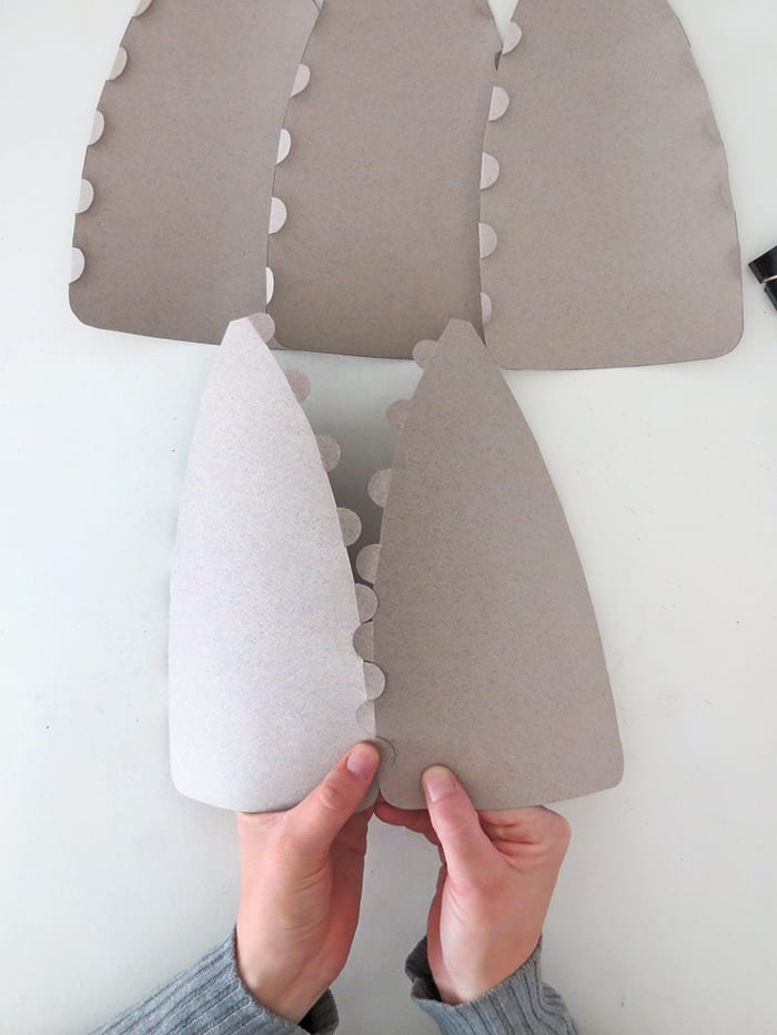glue the pieces together to make the paper lampshade