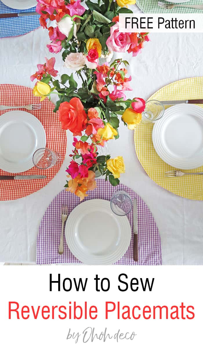 How to sew reversible placemats - Free pattern