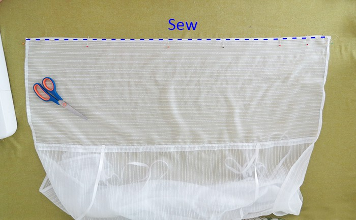 Sew top edge to make tie-up shades