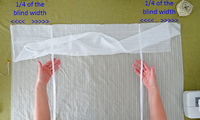 put ribbons to hold diy tie up shades