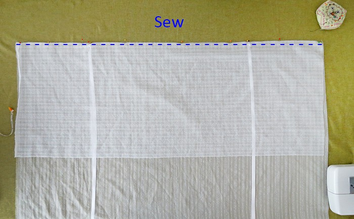 sew fabric to make diy tie-up shades