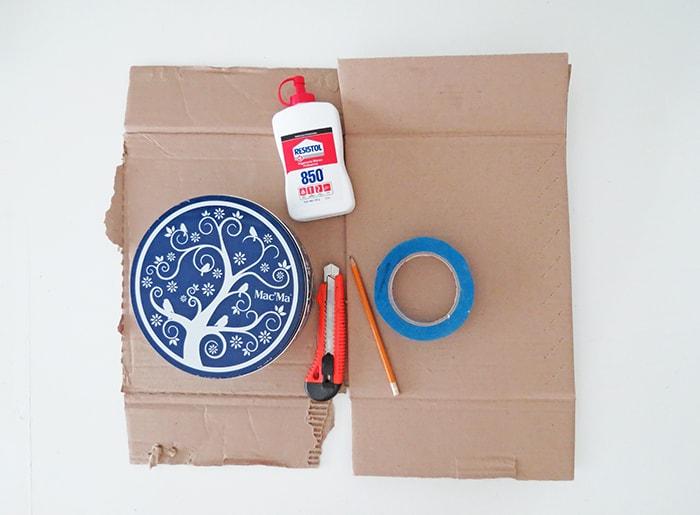 supplies to make DIY cardboard shelf
