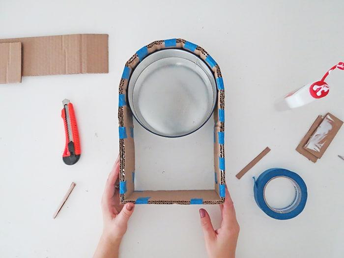 add cardboard layers to diy wall shelf