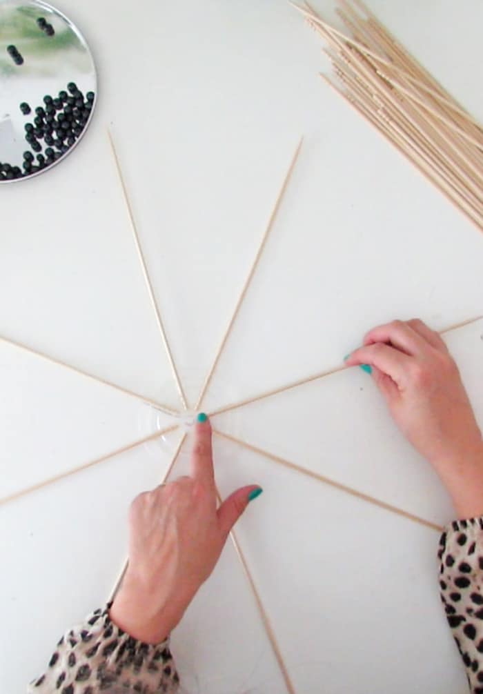 assemble the skewers to make lampshade