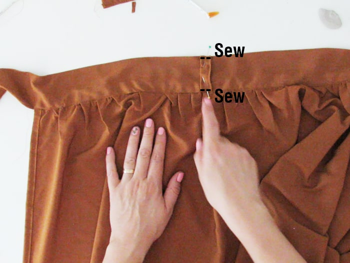 sew the strap on the skirt