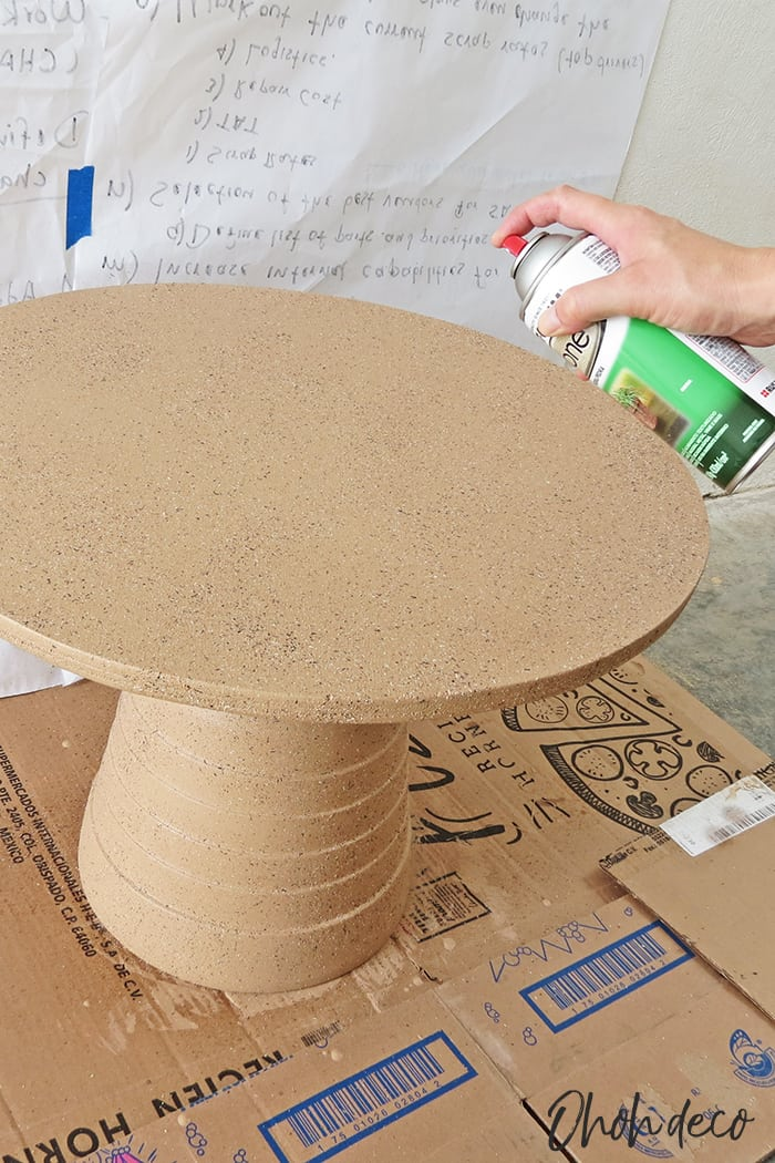 spray paint the round coffee table