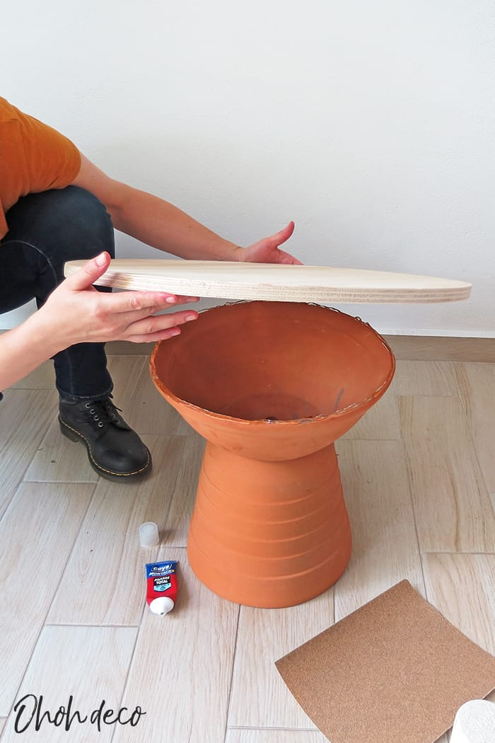 glue the top on the coffee table base