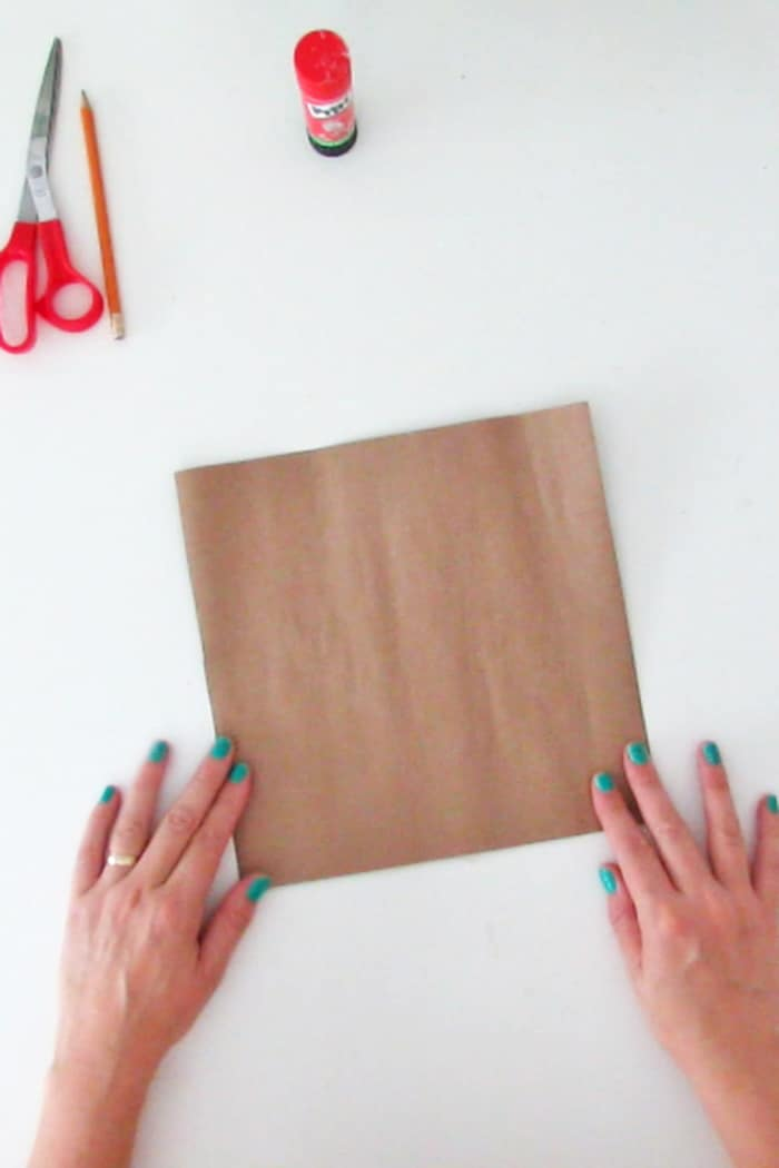 brown paper square for diy mirror