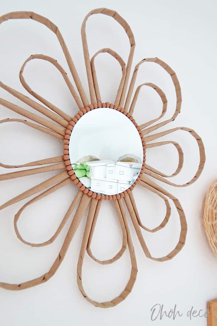 DIY Rafia style mirror frame