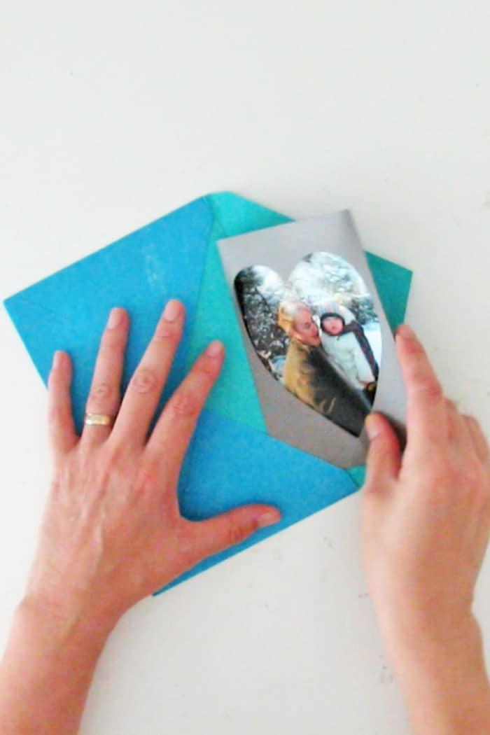 slide the frame in an envelope